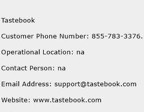 Tastebook Phone Number Customer Service