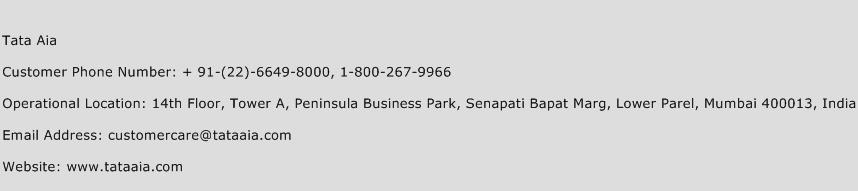 Tata AIA Phone Number Customer Service