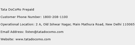 Tata DoCoMo Prepaid Phone Number Customer Service