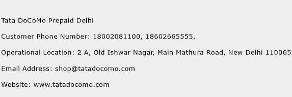 Tata DoCoMo Prepaid Delhi Phone Number Customer Service