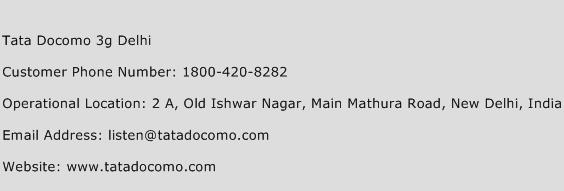 Tata Docomo 3G Delhi Phone Number Customer Service