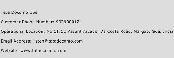 Tata Docomo Goa Phone Number Customer Service