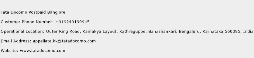 Tata Docomo Postpaid Banglore Phone Number Customer Service