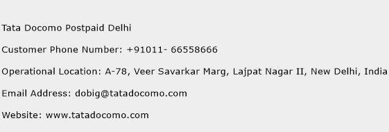 Tata Docomo Postpaid Delhi Phone Number Customer Service