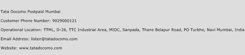 Tata Docomo Postpaid Mumbai Phone Number Customer Service