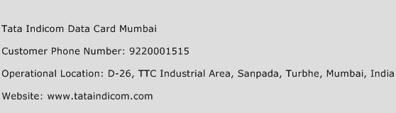Tata Indicom Data Card Mumbai Phone Number Customer Service
