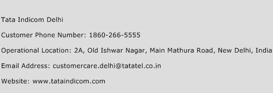 Tata Indicom Delhi Phone Number Customer Service