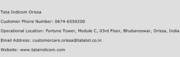 Tata Indicom Orissa Phone Number Customer Service