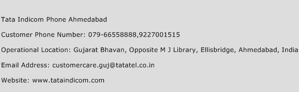 Tata Indicom Phone Ahmedabad Phone Number Customer Service