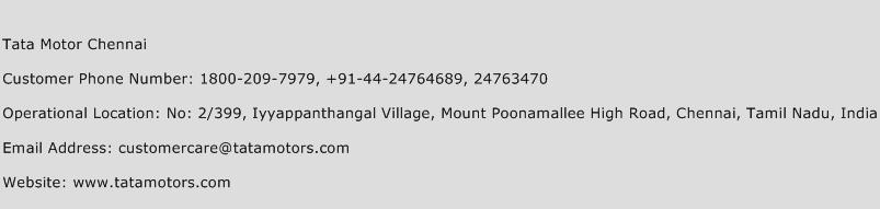 Tata Motor Chennai Phone Number Customer Service