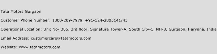 Tata Motors Gurgaon Phone Number Customer Service