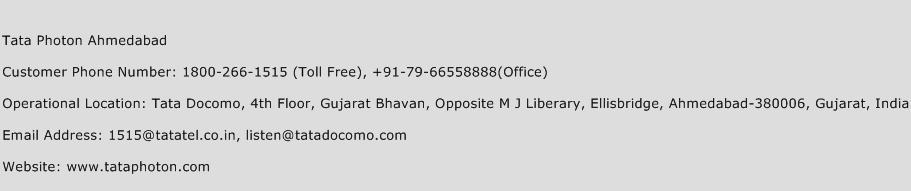 Tata Photon Ahmedabad Phone Number Customer Service