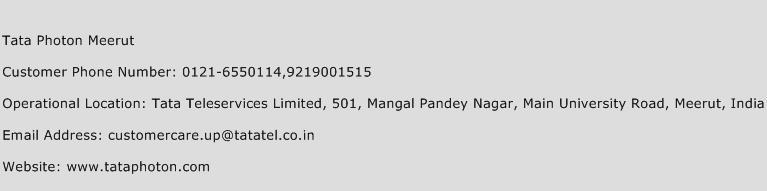 Tata Photon Meerut Phone Number Customer Service