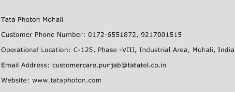 Tata Photon Mohali Phone Number Customer Service