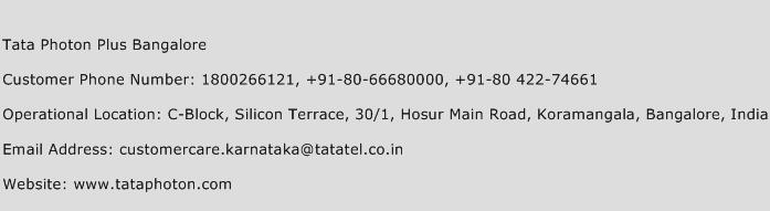 Tata Photon Plus Bangalore Phone Number Customer Service