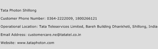 Tata Photon Shillong Phone Number Customer Service