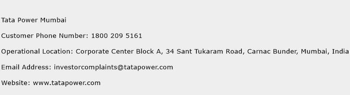 Tata Power Mumbai Phone Number Customer Service