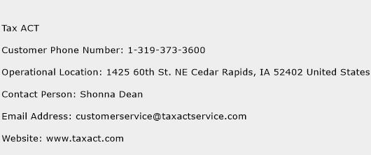 Tax ACT Phone Number Customer Service