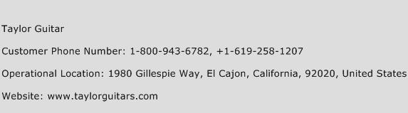Taylor Guitar Phone Number Customer Service