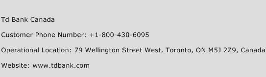 Td Bank Canada Phone Number Customer Service