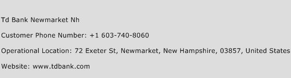 Td Bank Newmarket Nh Customer Service Phone Number | Contact ...