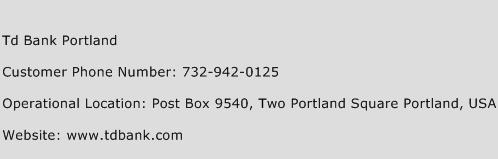 Td Bank Portland Phone Number Customer Service