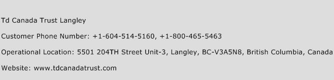 Td Canada Trust Langley Phone Number Customer Service