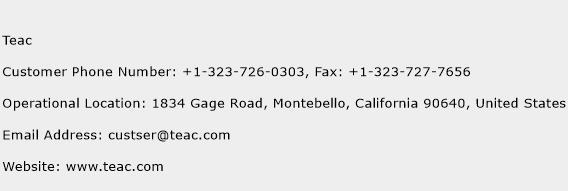 Teac Phone Number Customer Service