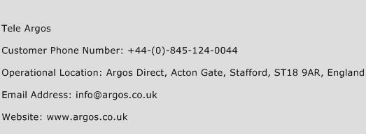 Tele Argos Phone Number Customer Service
