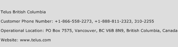 Telus British Columbia Phone Number Customer Service