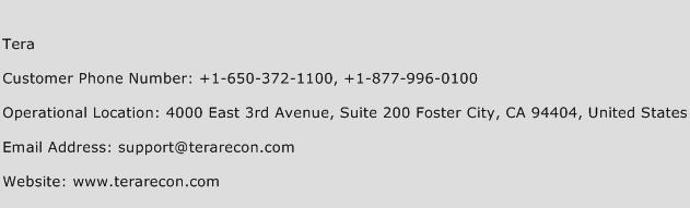 Tera Phone Number Customer Service