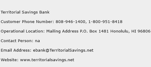 Territorial Savings Bank Phone Number Customer Service