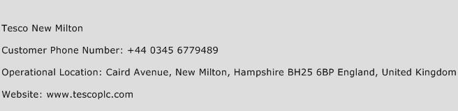 Tesco New Milton Phone Number Customer Service