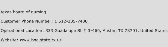 Texas Board of Nursing Phone Number Customer Service