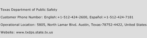 Texas Department of Public Safety Phone Number Customer Service
