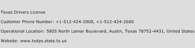 Texas Drivers License Phone Number Customer Service