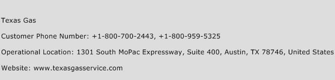 Texas Gas Phone Number Customer Service