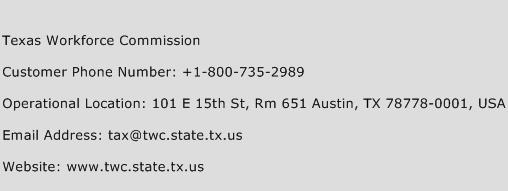 Texas Workforce Commission Phone Number Customer Service