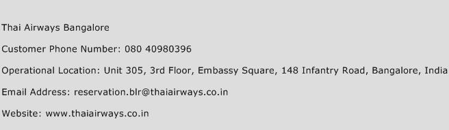 Thai Airways Bangalore Phone Number Customer Service