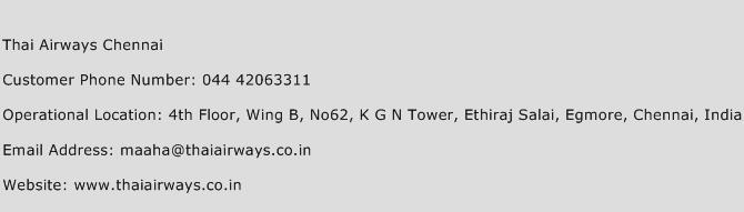 Thai Airways Chennai Phone Number Customer Service