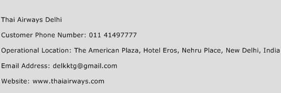 Thai Airways Delhi Phone Number Customer Service