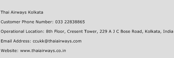 Thai Airways Kolkata Phone Number Customer Service