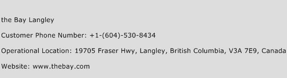 The Bay Langley Phone Number Customer Service