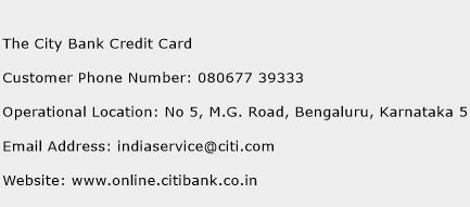 The City Bank Credit Card Phone Number Customer Service