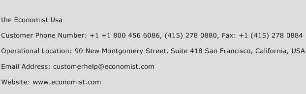 The Economist USA Phone Number Customer Service