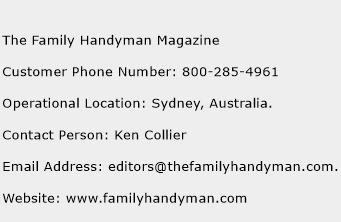 The Family Handyman Magazine Phone Number Customer Service