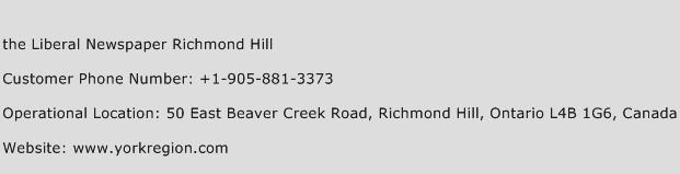 The Liberal Newspaper Richmond Hill Phone Number Customer Service