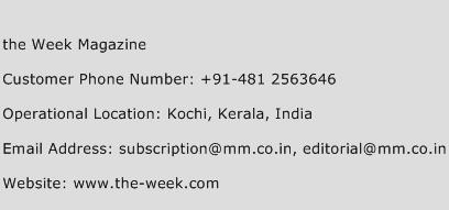 The Week Magazine Contact Number  The Week Magazine Customer Service Number  The Week Magazine