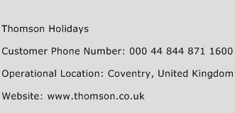 Thomson Holidays Phone Number Customer Service