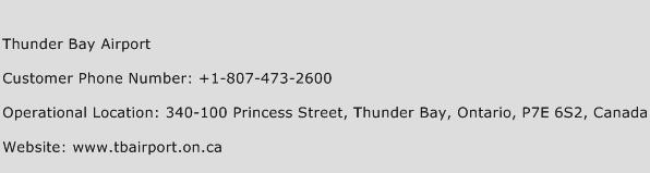 Thunder Bay Airport Phone Number Customer Service